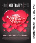 valentines day party flyer with ... | Shutterstock .eps vector #373187593
