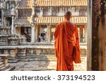 buddhist monk looking at... | Shutterstock . vector #373194523