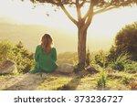 young happy woman walking... | Shutterstock . vector #373236727