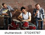 musicians playing the drums on... | Shutterstock . vector #373245787