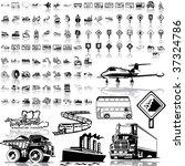 transport set of black sketch....