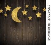 glitter gold stars and moon on... | Shutterstock .eps vector #373269217