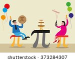 happy pi day concept. people... | Shutterstock .eps vector #373284307