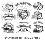 Vintage Trout Fishing Emblems ...