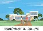 famity parents two kids in... | Shutterstock .eps vector #373303393