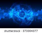 blue abstract technological... | Shutterstock .eps vector #373304377