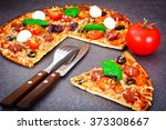 pepperoni pizza with sausage ... | Shutterstock . vector #373308667