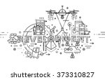 flat style  thin line business... | Shutterstock .eps vector #373310827