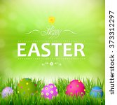 happy easter card with gradient ... | Shutterstock .eps vector #373312297
