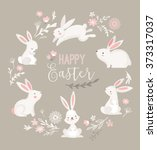 easter design with cute banny... | Shutterstock .eps vector #373317037