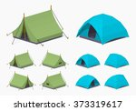 camping tents. 3d lowpoly... | Shutterstock .eps vector #373319617