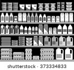 supermarket shelves with dairy... | Shutterstock .eps vector #373334833