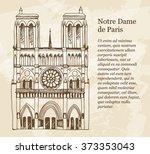 notre dame de paris  france...   Shutterstock .eps vector #373353043