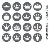 set of vector crown icons in... | Shutterstock .eps vector #373353433