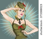 pin up sexy girl in military... | Shutterstock .eps vector #373388023