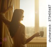 woman in the morning.... | Shutterstock . vector #373405687