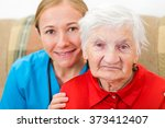 photo of elderly woman with the ... | Shutterstock . vector #373412407