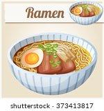japanese ramen soup cartoon... | Shutterstock .eps vector #373413817