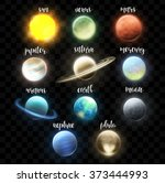 set realistic bright planets.... | Shutterstock .eps vector #373444993