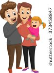 new family with girl. happy... | Shutterstock .eps vector #373458847