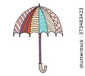 umbrella doodle vector | Shutterstock .eps vector #373483423