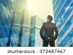 businessman looking at office... | Shutterstock . vector #373487467