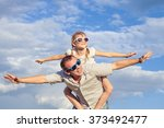 father and daughter playing in... | Shutterstock . vector #373492477