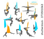 set of aerial yoga. yoga logo... | Shutterstock .eps vector #373501063