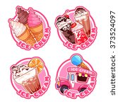 set of four stickers with ice... | Shutterstock .eps vector #373524097