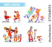 set of cartoon families with... | Shutterstock .eps vector #373568053
