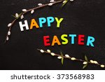 happy easter greeting card with ... | Shutterstock . vector #373568983
