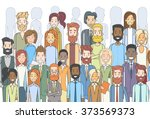 group of business people face... | Shutterstock .eps vector #373569373
