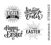 happy easter greeting card.... | Shutterstock .eps vector #373581613