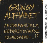 hand drawn golden alphabet.... | Shutterstock .eps vector #373585993