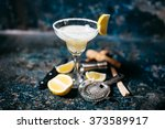 fancy cocktail with lemons and... | Shutterstock . vector #373589917