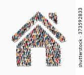 a large group of people in the... | Shutterstock .eps vector #373592833