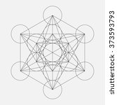 metatron's cube. flower of life.... | Shutterstock .eps vector #373593793