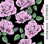 pink roses on a black...   Shutterstock .eps vector #373598833