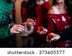 festive friends having shots in ... | Shutterstock . vector #373605577