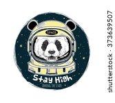 Panda Astronaut  Hand Drawn Ar...