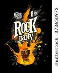 rock party poster design with... | Shutterstock .eps vector #373650973