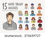 hand drawn avatars set of... | Shutterstock .eps vector #373659727