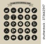 25 hand stitch border vintage... | Shutterstock .eps vector #373662547