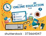 online education design concept.... | Shutterstock .eps vector #373664047