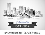hand drawn sydney cityscape on... | Shutterstock .eps vector #373674517