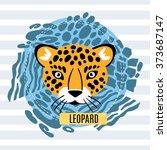 leopard face white on blue... | Shutterstock .eps vector #373687147
