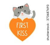 first kiss conversation hearts... | Shutterstock .eps vector #373687693