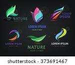 vector set of abstract wavy ... | Shutterstock .eps vector #373691467
