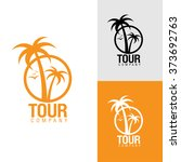 palm trees silhouette emblems.... | Shutterstock .eps vector #373692763