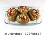 baked potato mixed with salad... | Shutterstock . vector #373705687